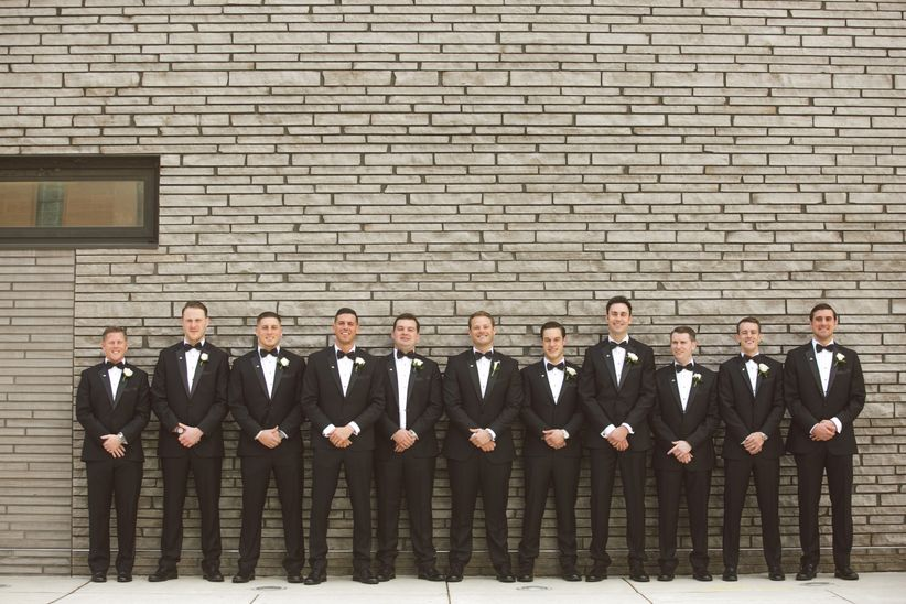 groom and groomsmen classic black tuxedos