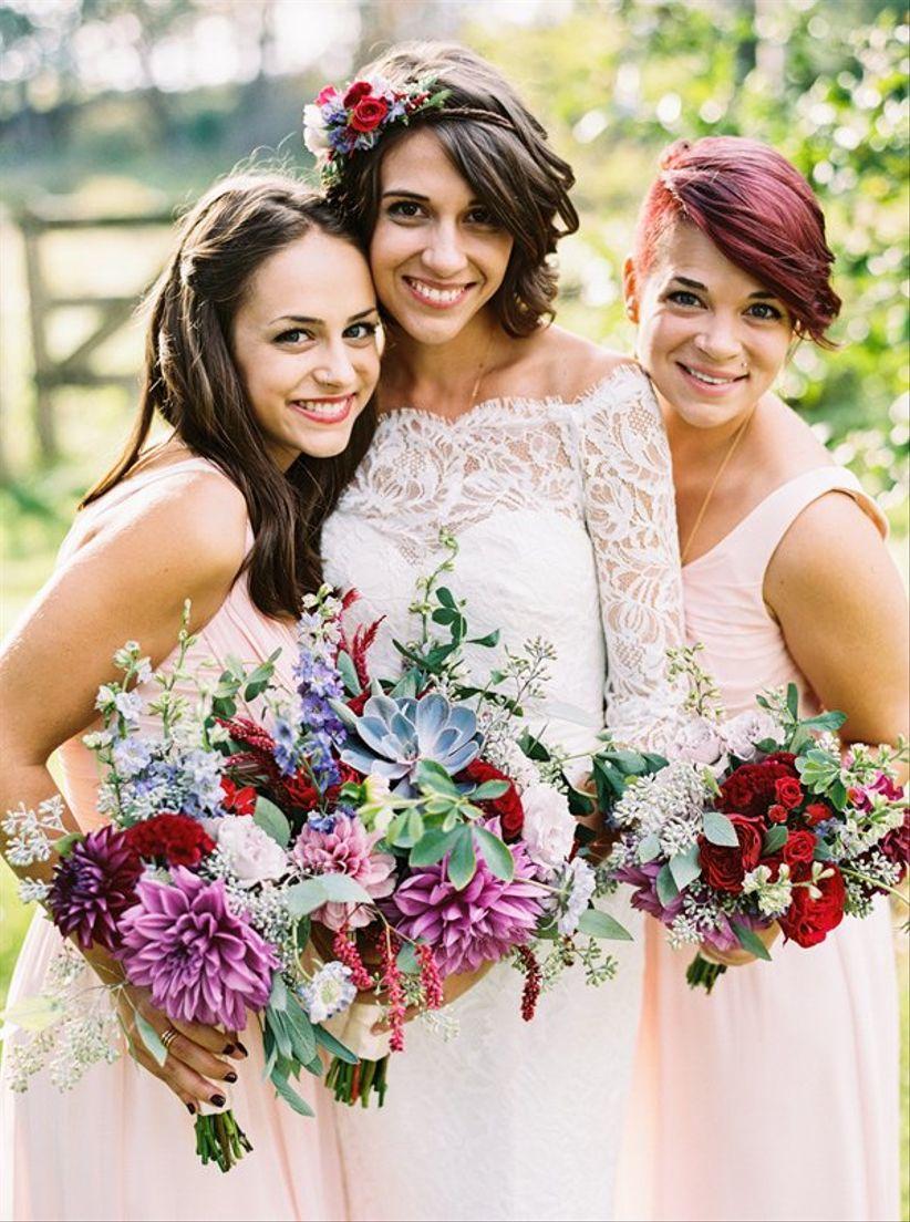 bride with floral headband