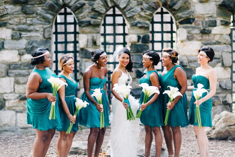 bride and bridesmaids at great gatsby theme wedding