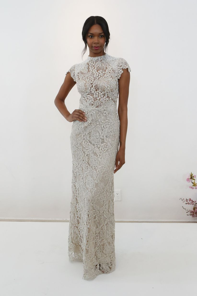 bhldn high neck wedding dress