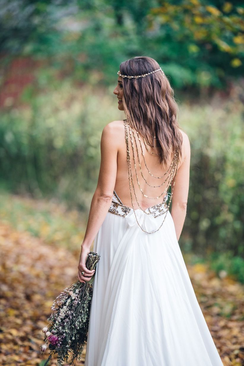 backless bohemian wedding dress with chains and beading