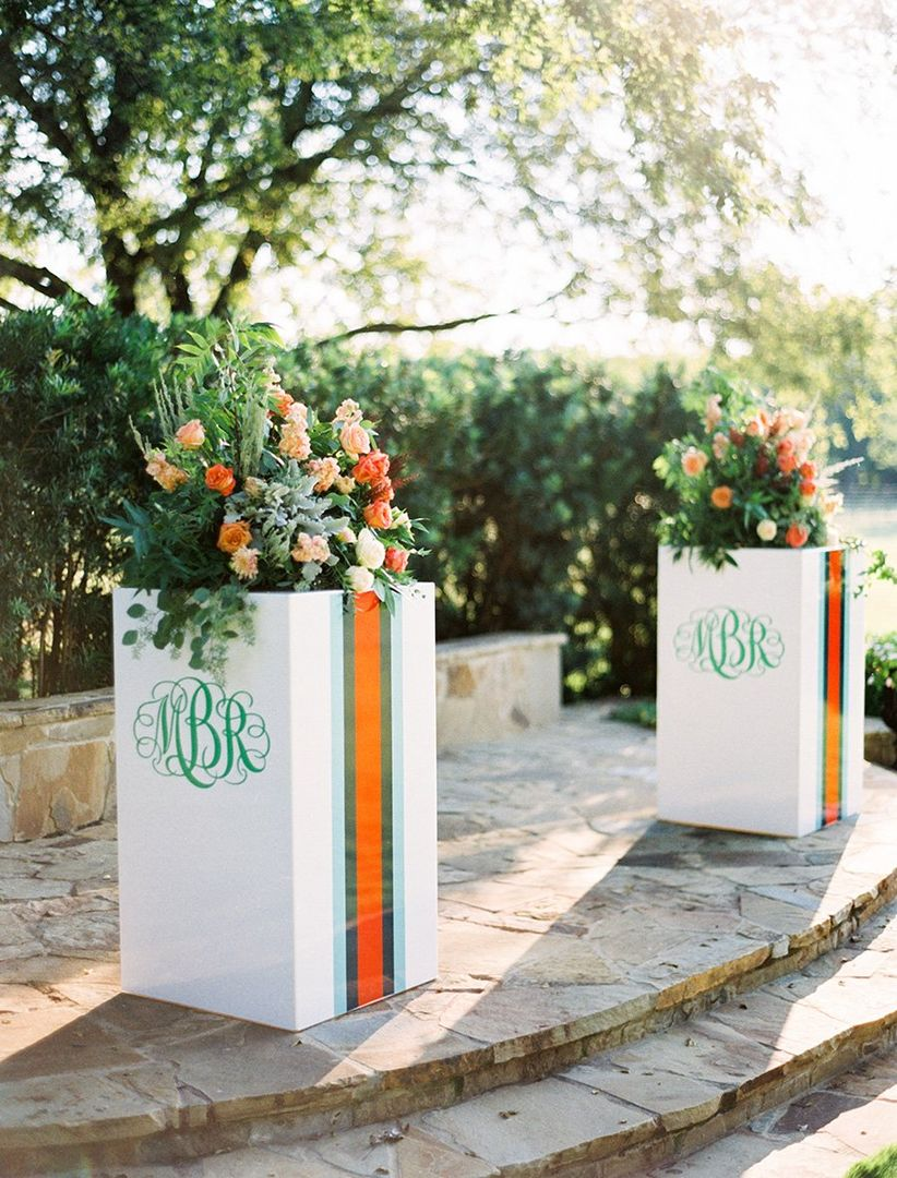 monogrammed decor at the altar
