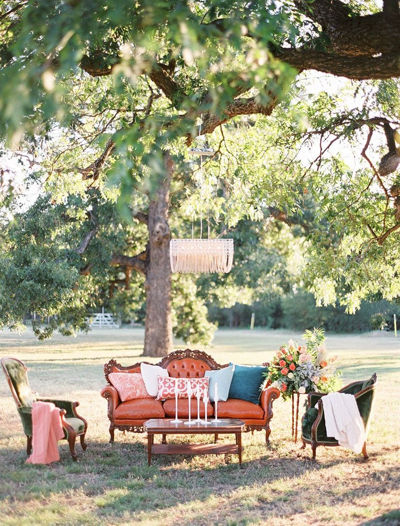 outdoor lounge area with vintage furniture