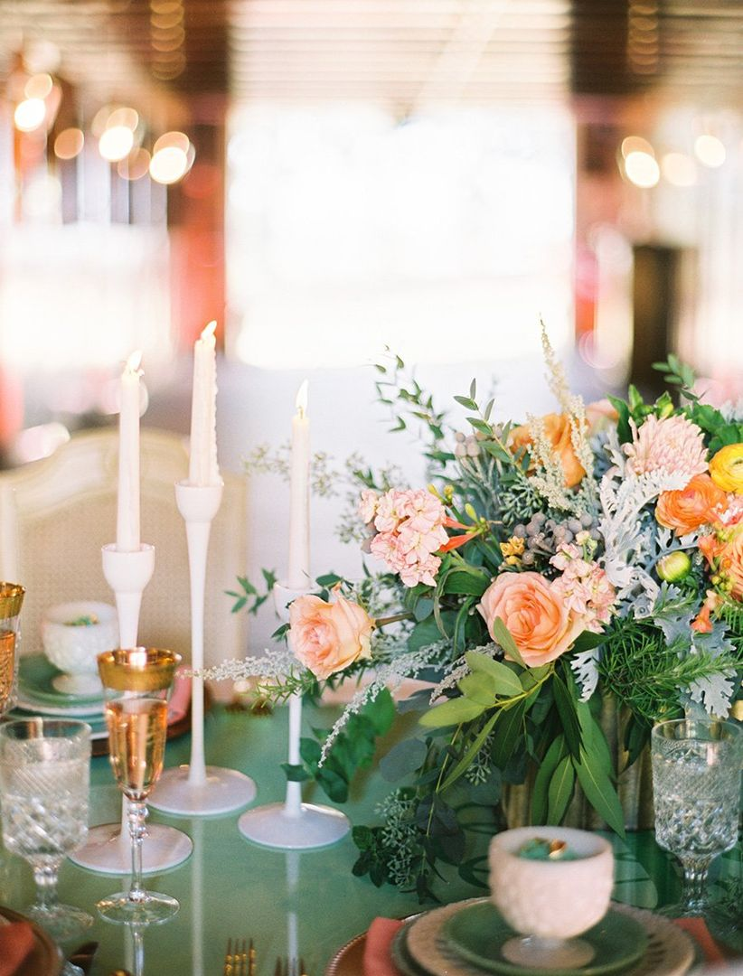 whimsical pink rose centerpiece
