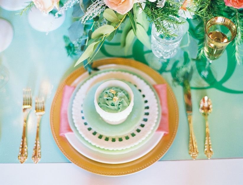 pink, mint and gold place setting