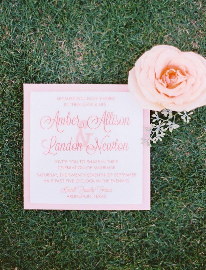 preppy pink and white wedding invitation