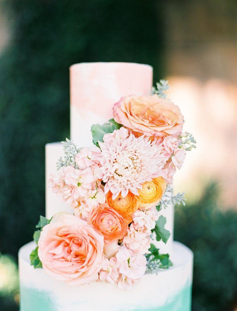 fresh flowers on watercolor wedding cake