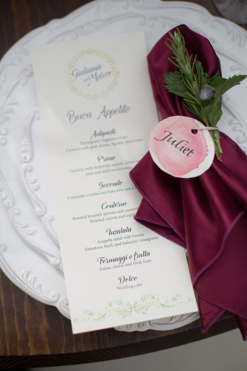 watercolor place card with menu card