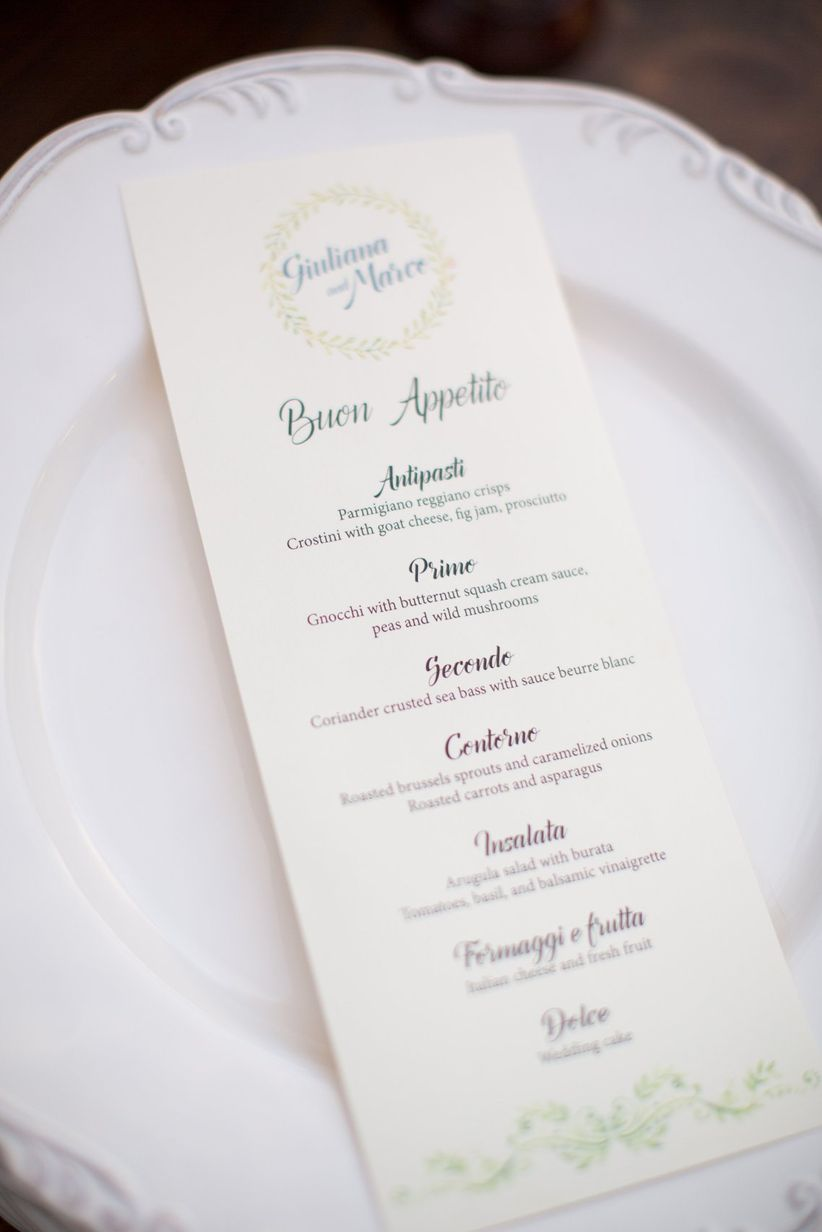 buon appetito menu card italian-themed