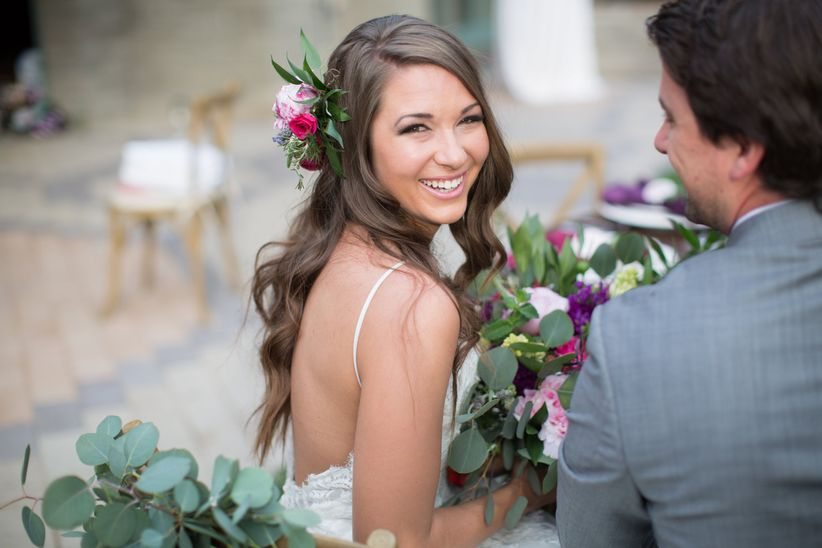bride with natural makeup and loose waves
