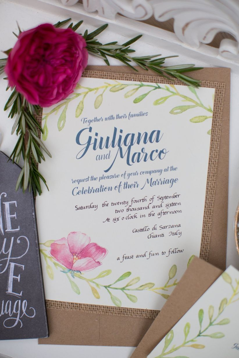 pink floral invitation suite with burlap trim