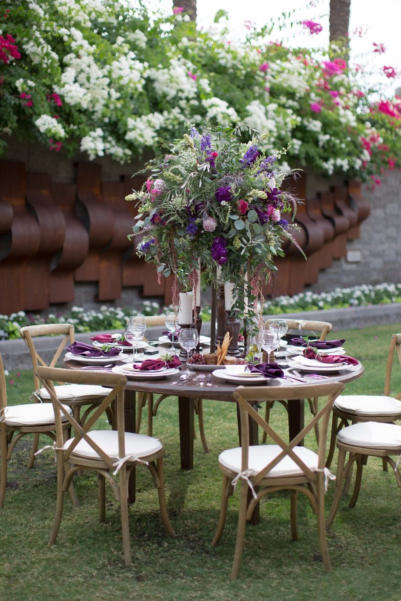romantic purple and pink tablescape