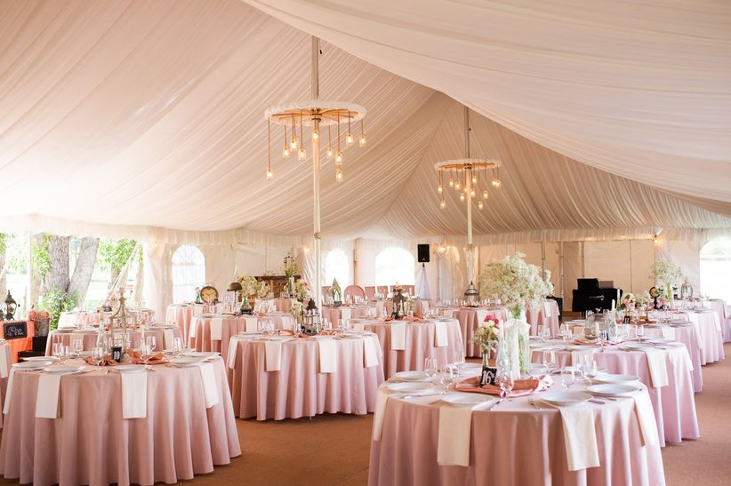 tented reception with blush linens