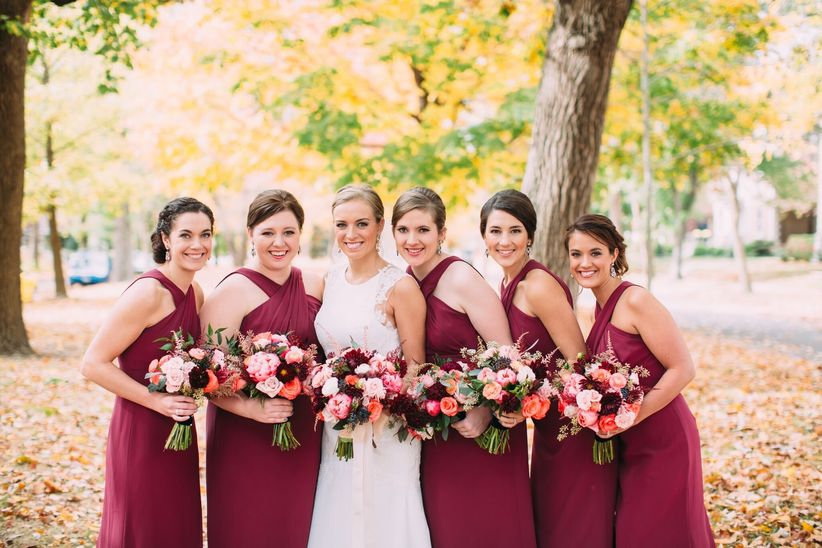 marsala bridesmaid dresses fall wedding