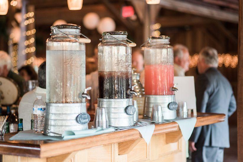 Cocktails on wooden bar rustic mason jar decor