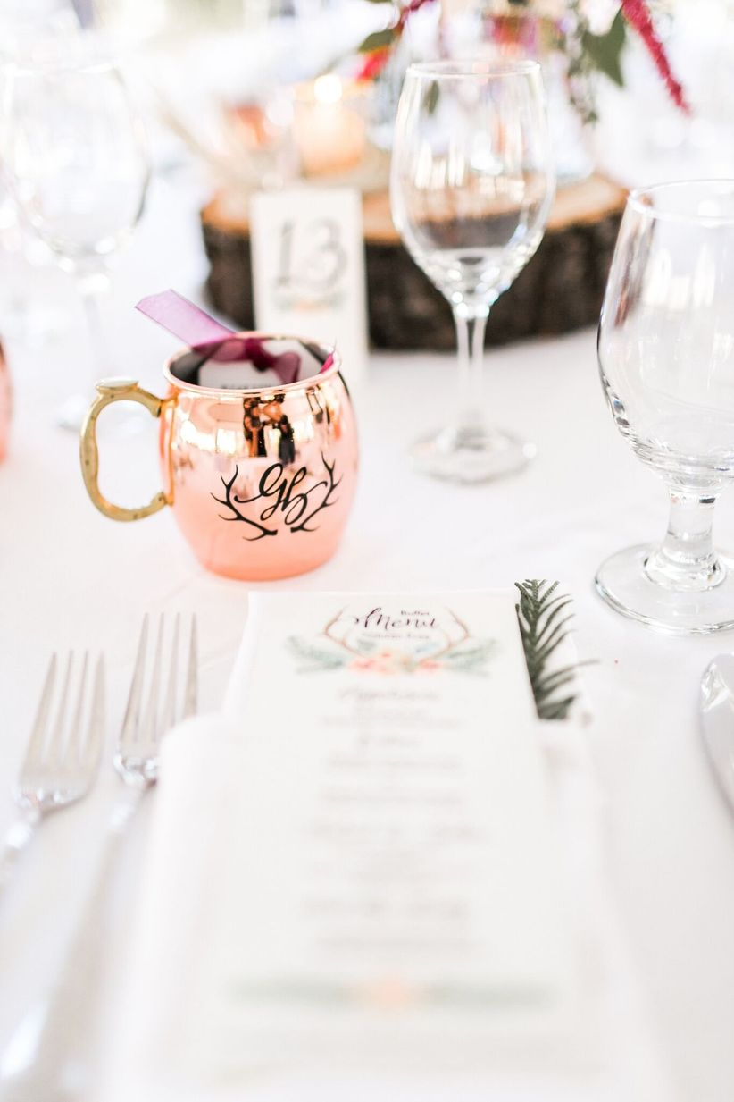 winter wedding favor ideas - copper moscow mule mug