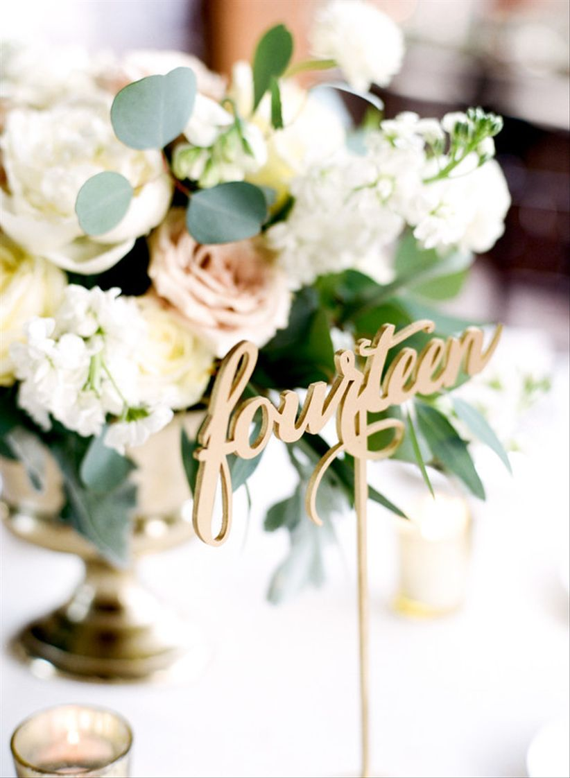 gold laser cut table number for romantic vintage style wedding