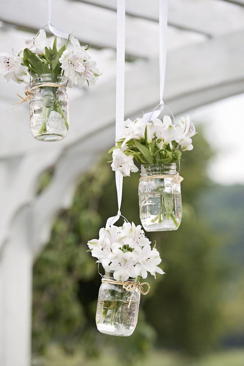 mason jars with alstroemeria