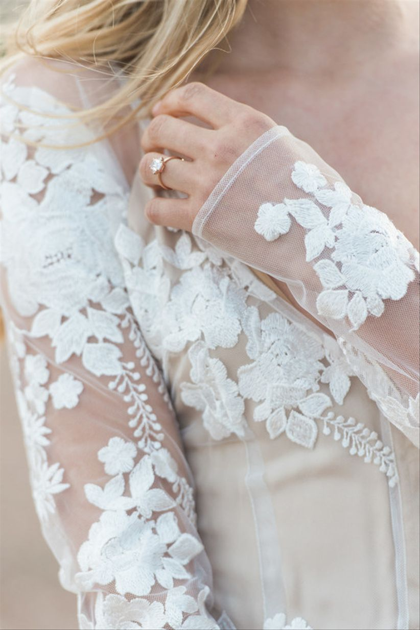 modern wedding dress with lace illusion sleeves