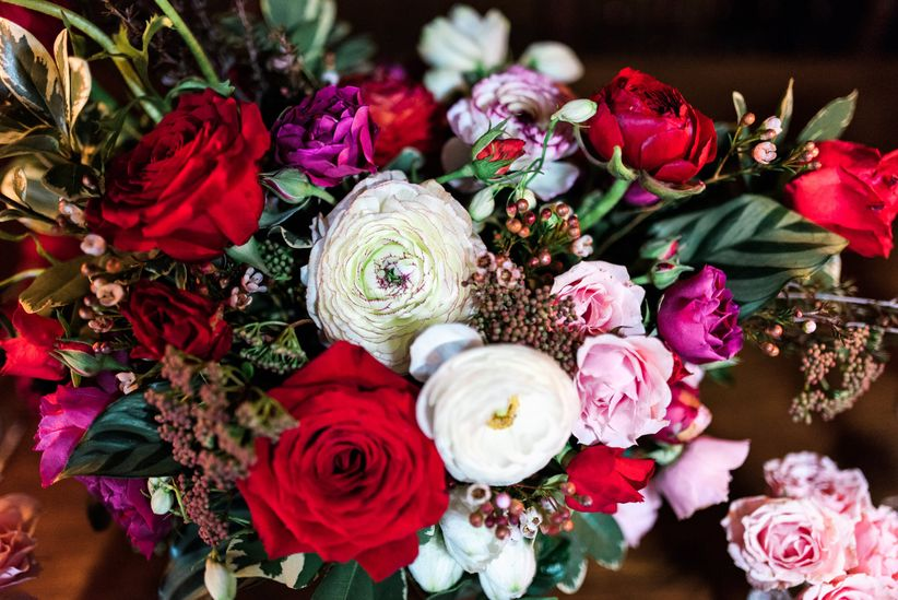 romantic rose and ranunculus centerpiece