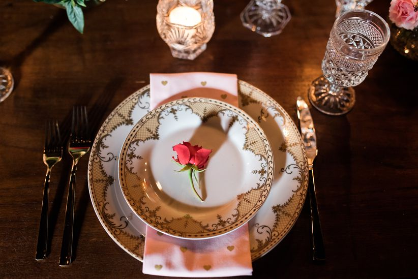 blush and gold place setting