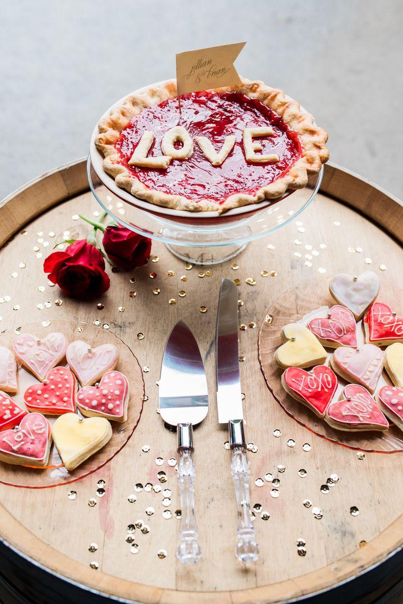 heart-shaped cookies and handmade pie