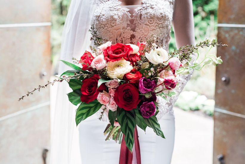 romantic pink and red bridal bouquet