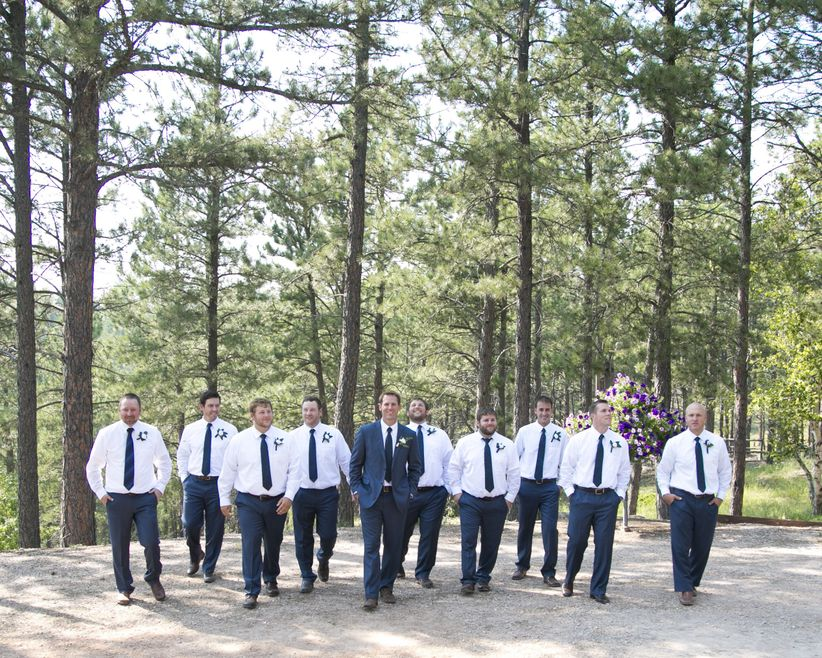 Groom Groomsmen Woods Outdoor Portrait