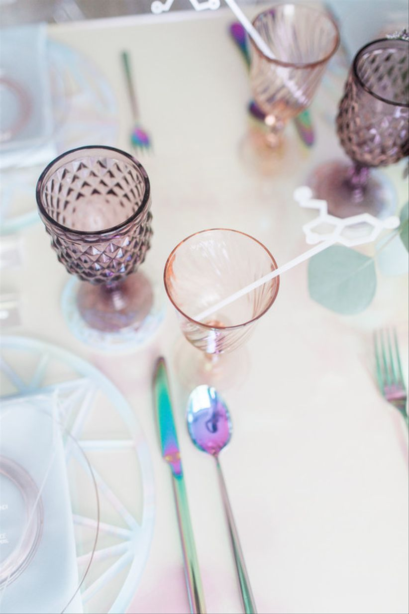 iridescent wedding ideas —place setting with holographic silverware