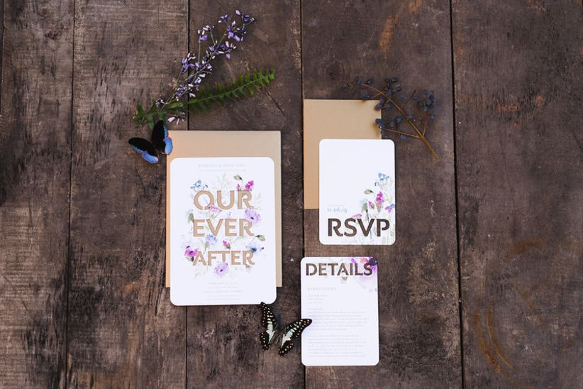 woodland wedding idea —invitation suite decorated with butterflies and flowers