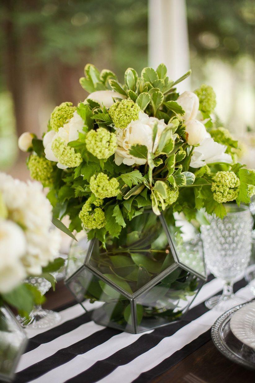 modern green and white wedding centerpiece