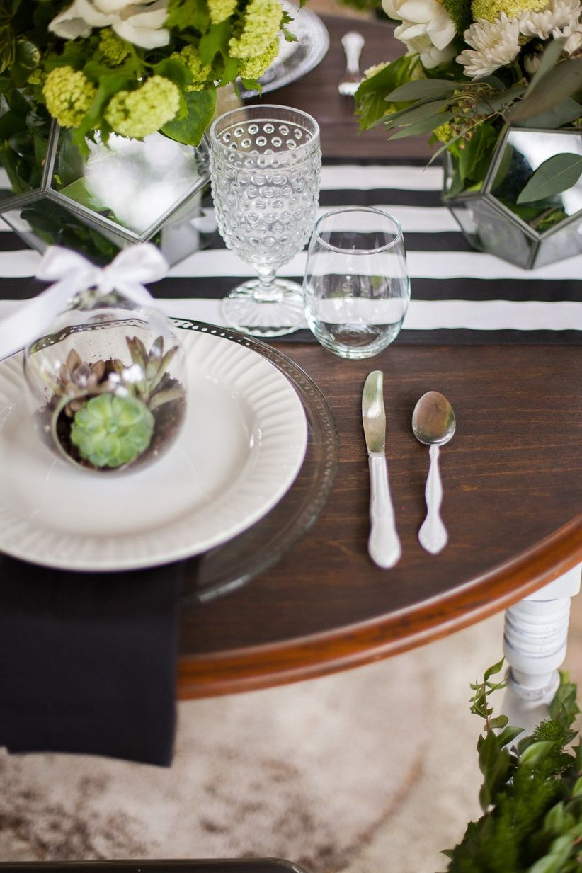 modern place setting with hobnail goblets