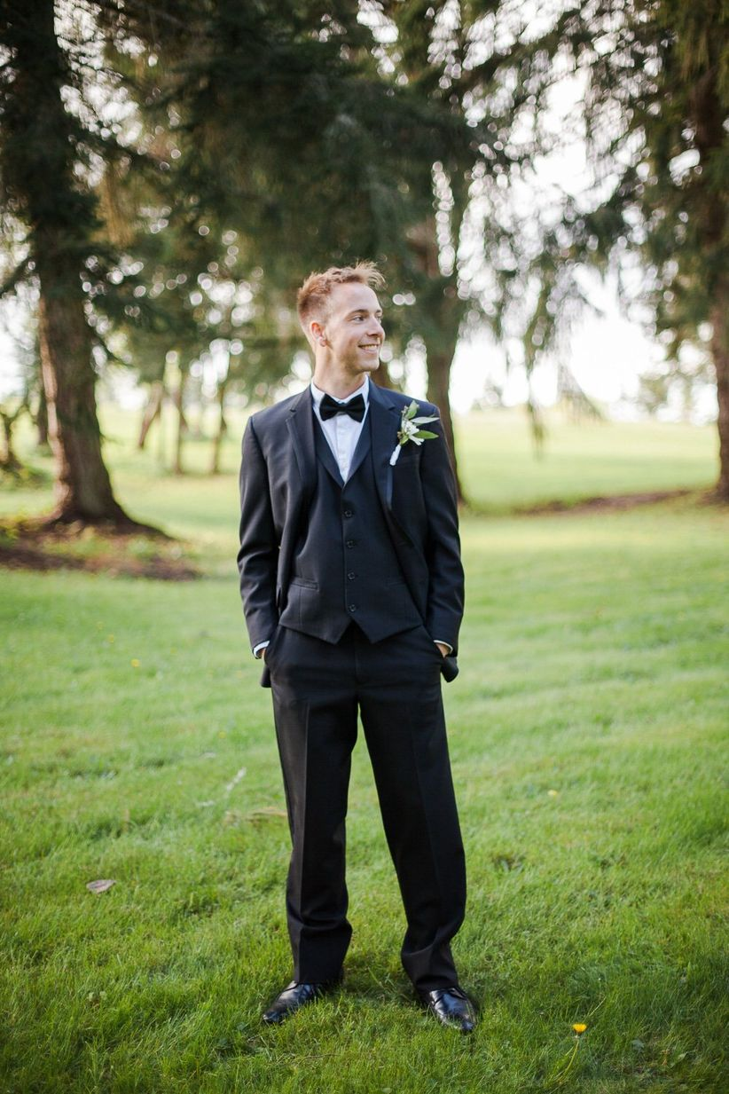 groom wearing classic tux