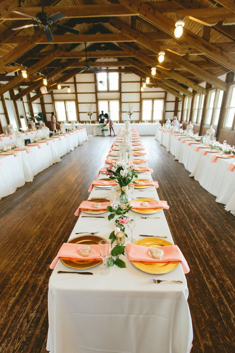 indoor shabby chic reception white linens floral runners