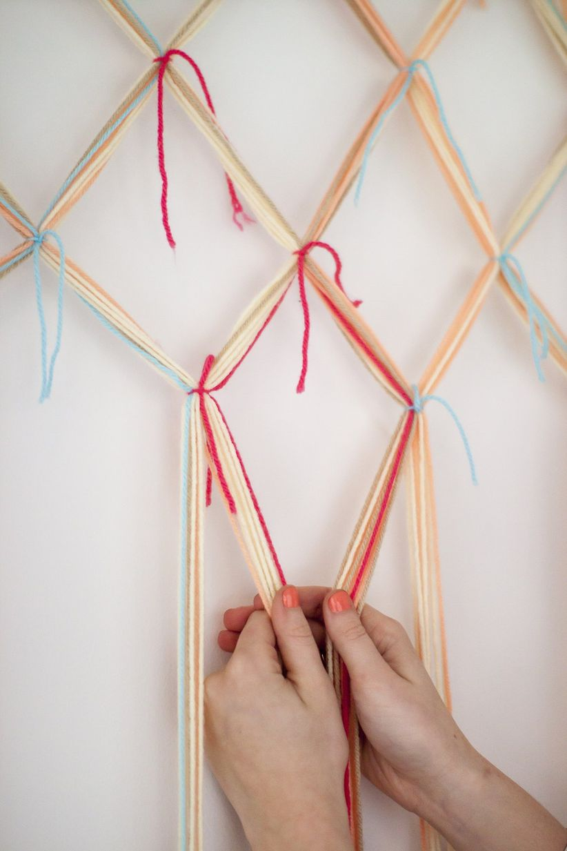 knotted yarn lattice diy photo backdrop