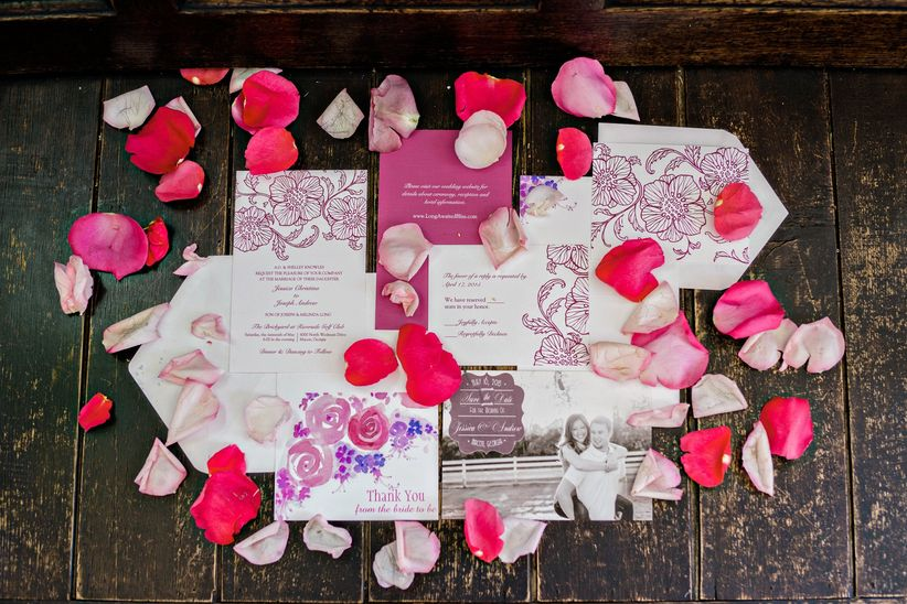 Invitations with flower petals