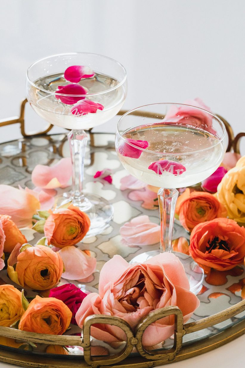 monogrammed champagne coupes