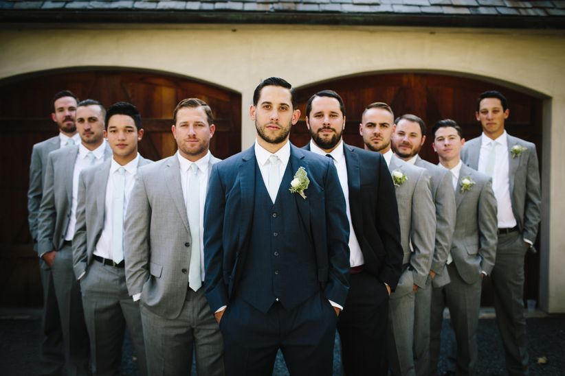 d0d46835b groom and groomsmen portrait wedding party navy suit gray suits