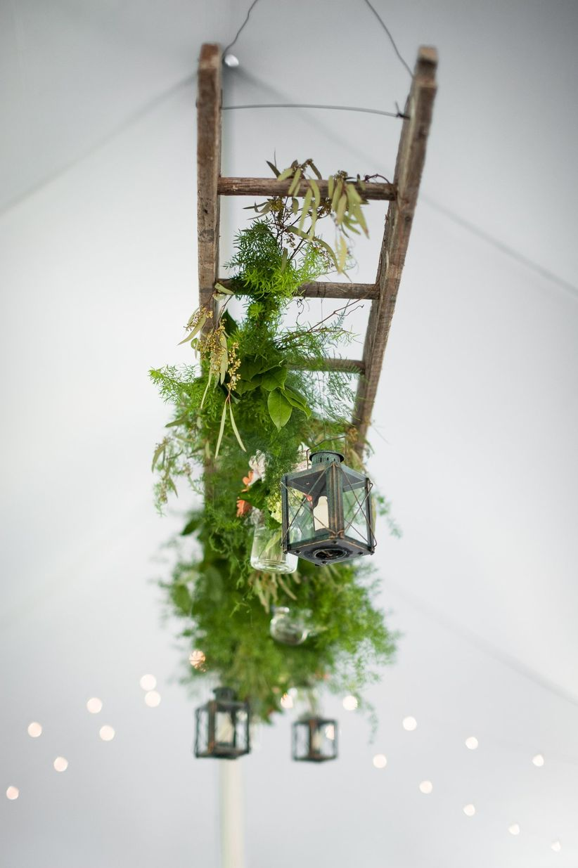 floating ladder decorated with greenery