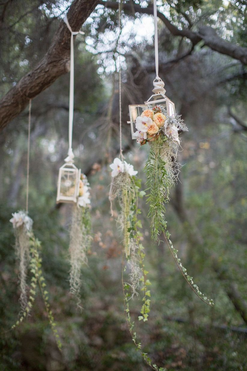 hanging lanterns with flowers