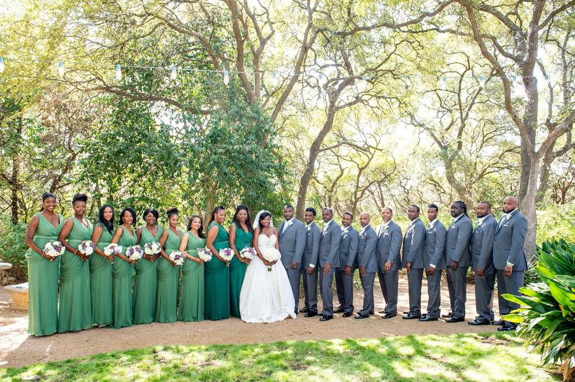 wedding party in green attire