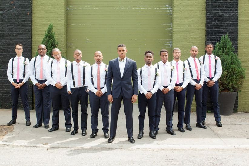 groomsmen in v-shape