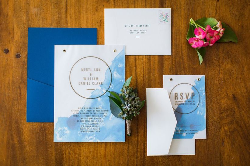 modern wedding invitations with blue watercolor pattern