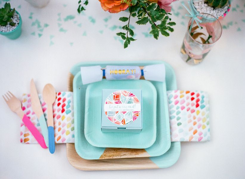 bright teal and pink place setting