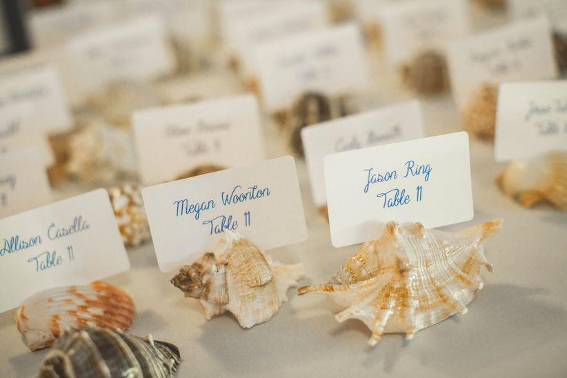 Seashell escort card holders