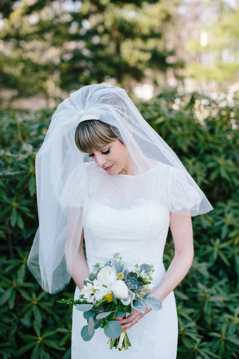 Every wedding veil style length explained weddingwire elbow length veil junglespirit Image collections
