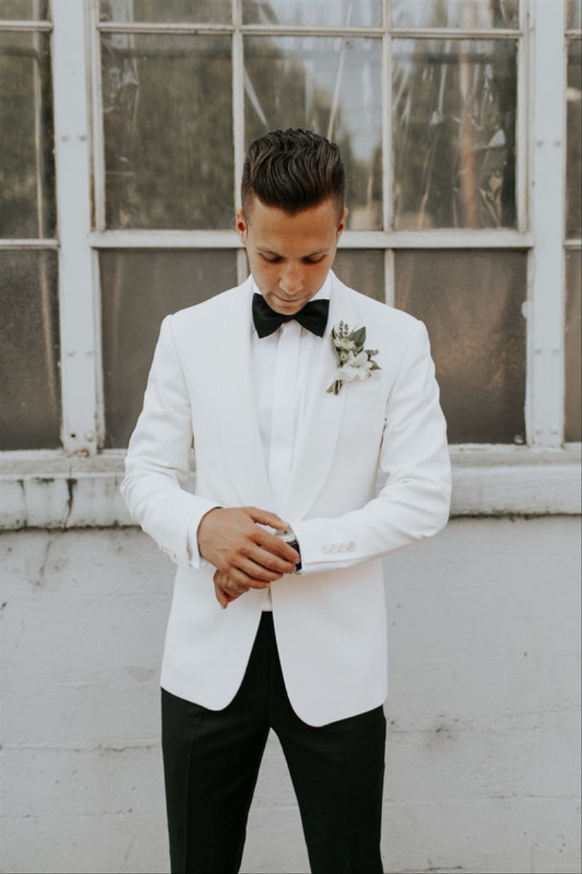 modern groom tuxedo with white jacket