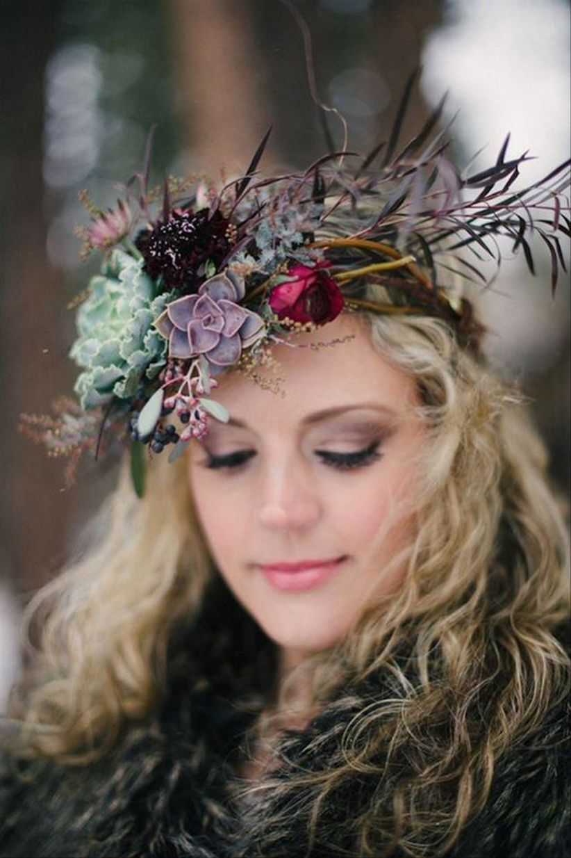 wedding flower crown for fall or winter bride with succulents + greenery