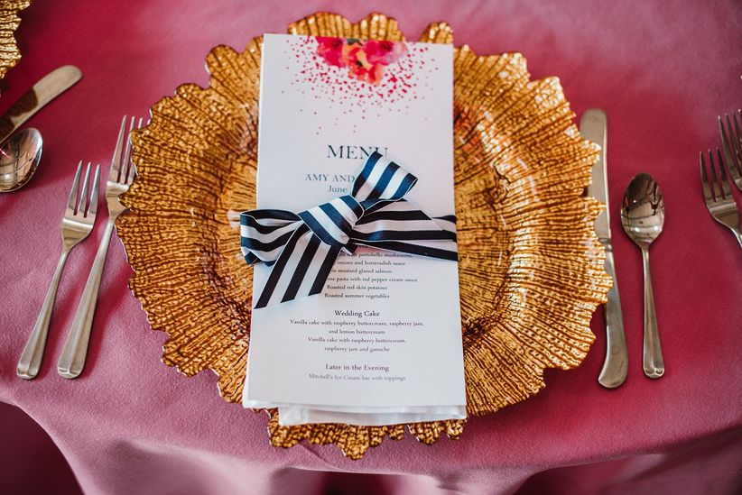 blue pink and gold striped wedding place setting