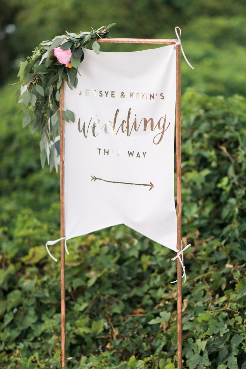 gold wedding sign Ruth Eileen Photography